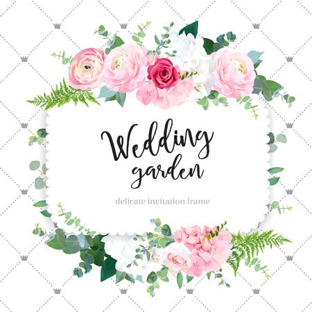 Square floral vector design frame Stock Illustratie