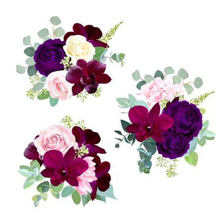 Bouquets de saison de conception de vecteur de fleurs sombres