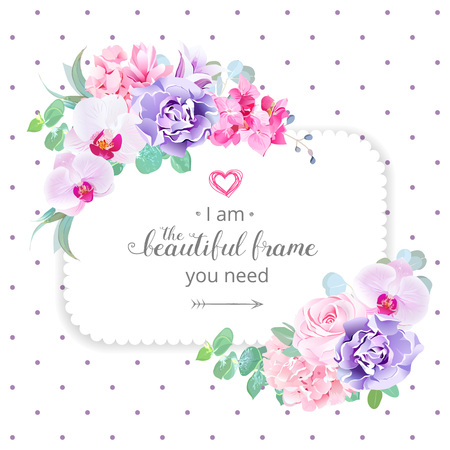 Square floral vector design frame.