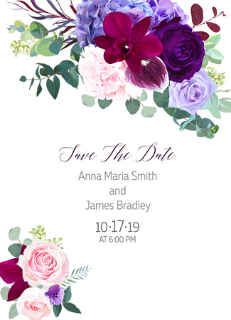 Elegant seasonal dark flowers vector design wedding frame.