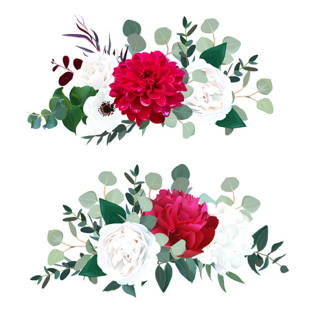 Red dahlia, burgundy peony, white rose, hydrangea, anemone.