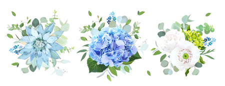 Blue and white flowers vector design bouquets