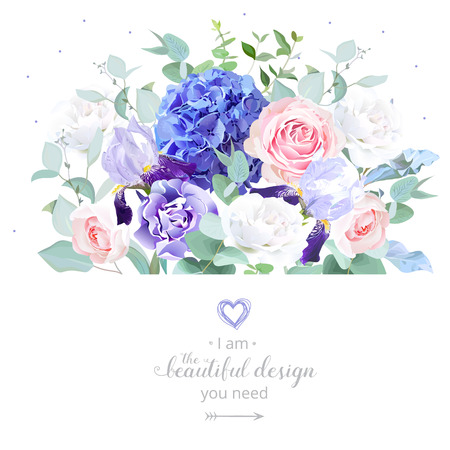 Floral design vector border in watercolor style. Rose, hydrangea, eucalyptus, iris, carnation. Pink, violet, white spring wedding flowers. Botanical greenery set.All elements are isolated and editable 矢量图像