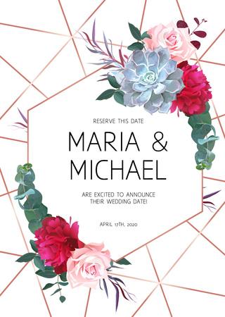 Rama projekt kwiatowy wektor geometryczne. Bordowo-czerwona piwonia, różowa róża, niebieska soczysta echeveria, eukaliptus i szmaragdowa zieleń. Ślubne kwiaty. Złota linia transparent. Wszystkie elementy są izolowane i edytowalne