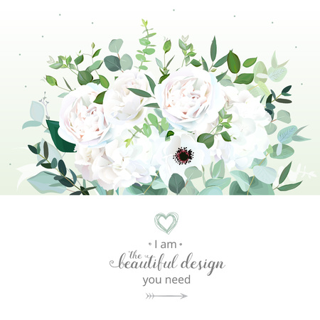 Floral design vector border in watercolor style. White rose, ranunculus, hydrangea, anemone, eucalyptus, greenery, foliage. Wedding flowers card. Botanical art. All elements are isolated and editable