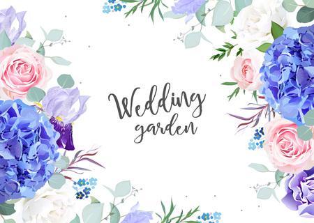 Banner di disegno vettoriale botanico viola.Ortensia blu, rosa bianca e rosa, non ti scordar di me, fiori di iris, eucalipto ed erbe. Carta o cornice naturale. Bordi floreali. Tutti gli elementi sono isolati e modificabili