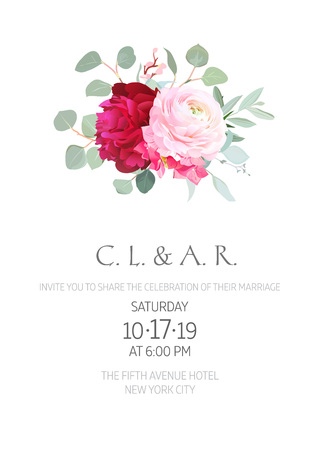 Floral minimalistic vector card. Pink ranunculus, hydrangea, burgundy red peony, eucalyptus. Greenery wedding invitation. Watercolor style. Natural frame design. All elements are isolated and editable Illustration