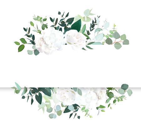 Banner de diseño de vector horizontal floral de boda. Rosa blanca y hortensias, eucalipto menta, vegetación rústica. Colección estilo acuarela. Árbol mediterráneo. Todos los elementos están aislados y son editables.