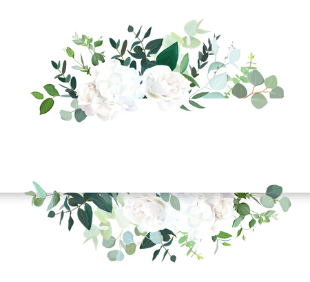 Bannière de conception de vecteur horizontal floral de mariage. Rose blanche et hortensia, eucalyptus menthe, verdure rustique. Collection de style aquarelle. Arbre méditerranéen. Tous les éléments sont isolés et modifiables