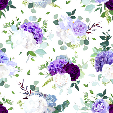 Seamless vector design pattern arranged from dark violet rose, purple and white hydrangea flower, rose, iris, carnation, seeded eucalyptus, greenery.Floral print.All elements are isolated and editable