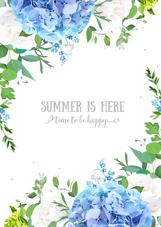 Summer botanical vector design banner. Light blue hydrangea, white rose, forget me not wildflowers, eucalyptus and herbs. Natural card or frame. Floral borders. All elements are isolated and editable Foto de archivo - 112053345