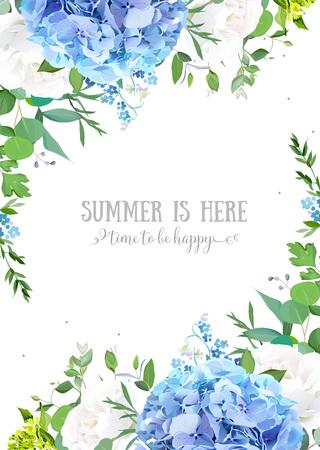 Zomer botanische vector design banner. Lichtblauwe hortensia, witte roos, vergeet me niet wilde bloemen, eucalyptus en kruiden. Natuurlijke kaart of lijst. Bloemen randen. Alle elementen zijn geïsoleerd en bewerkbaar Vector Illustratie