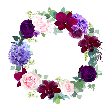 Elegant seasonal dark flowers vector design wedding frame.Dark violet rose, burgundy red orchid, deep blue, purple and pink hyrangea, seeded eucalyptus, greenery.All elements are isolated and editable