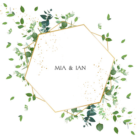 Greenery wedding invitation. Watercolor style.