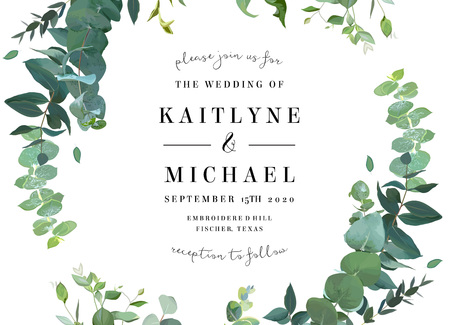 Herbal vector frame. Hand painted plants, branches, leaves on white background. Greenery botanical wedding invitation. Watercolor style. Natural card design. All elements are isolated and editable. 矢量图像