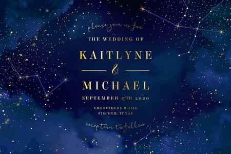 Cielo azul oscuro de la noche mágica con estrellas brillantes invitación de la boda del vector. Galaxia de Andromeda. Fondo de salpicaduras de polvo de oro brillo. Polvo dorado esparcido. Vía láctea de medianoche. Tarjeta mágica de cuento de hadas.