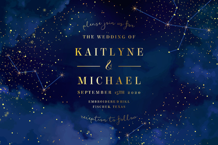 Magic night dark blue sky with sparkling stars vector wedding invitation. Andromeda galaxy. Gold glitter powder splash background. Golden scattered dust. Midnight milky way. Fairytale magic card. Çizim