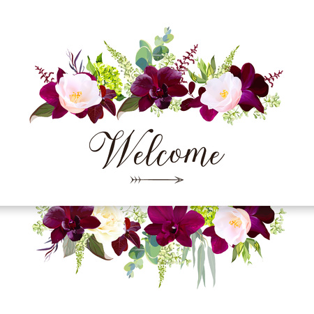 Luxury fall flowers vector design horizontal banner frame