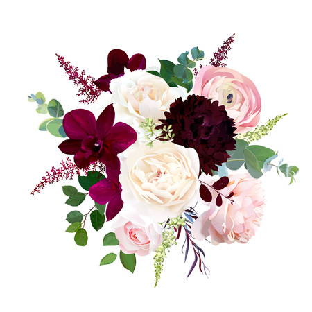 Luxury fall flowers vector bouquet. Dark orchid, garden rose, burgundy red dahlia, ranunculus, astilbe, agonis, seeded eucalyptus and greenery. Autumn wedding bunch of flowers. Isolated and editable. Banco de Imagens - 110125018