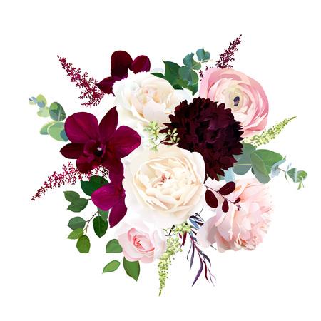 Luxus Herbstblumen Vektor-Blumenstrauß. Dunkle Orchidee, Gartenrose, burgunderrote Dahlie, Ranunkel, Astilbe, Agonis, gesäter Eukalyptus und Grün. Herbsthochzeitsblumenstrauß. Isoliert und editierbar.