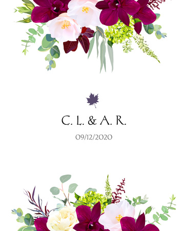 Luxury fall flowers vector design card. Dark orchid, pink camellia, yellow rose, burgundy red astilbe, green hydrangea, seeded eucalyptus and greenery. Autumn wedding bouquets. Isolated and editable. Vettoriali