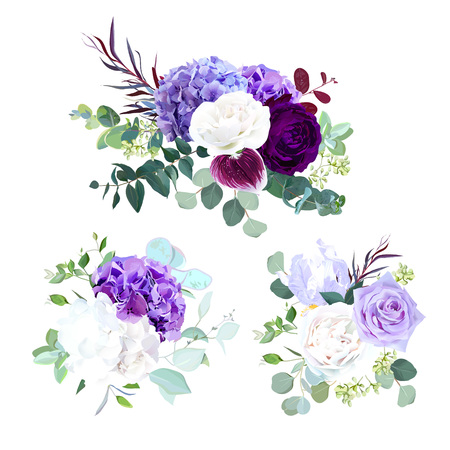 Elegant seasonal dark flowers vector design wedding bouquets.Purple and violet rose, white and lilac hydrangea,eucalyptus, iris,ranunculus, succulents,greenery. Floral border.All elements are isolated