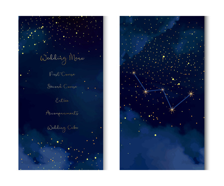 Magic night dark blue sky with sparkling stars vector vertical banner. Cassiopeia galaxy. Gold glitter powder splash background. Golden scattered dust. Midnight milky way. Fairytale magic cards. Illustration