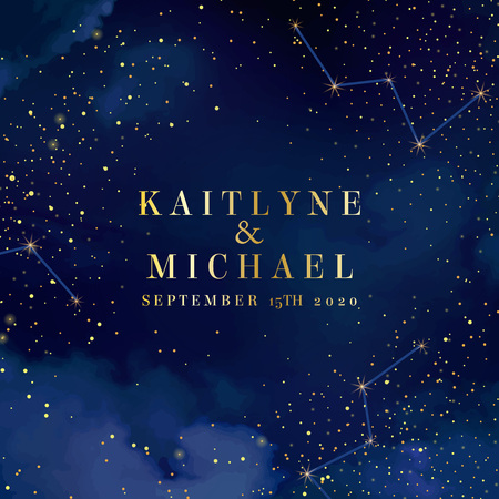 Magic night dark blue sky with sparkling stars vector wedding card. Andromeda galaxy. Gold glitter powder splash background. Golden scattered dust. Midnight milky way. Fairytale magic square template