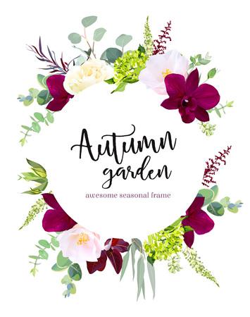 Luxury fall flowers vector design round banner frame. Ilustração Vetorial