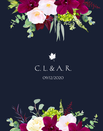 Luxury fall flowers vector design navy blue frame.Dark orchid, pink camellia,yellow rose,burgundy red astilbe, green hydrangea, seeded eucalyptus and greenery.Autumn wedding card.Isolated and editable