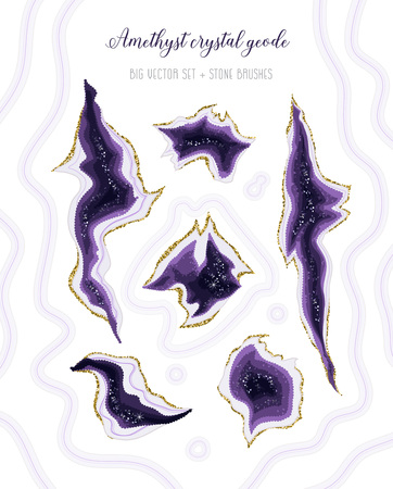 Amethyst crystal geode purple and white marbled vector set. Stylish ultraviolet texture.Gold border.Sparkling gems.Two natural stone brush. All elements are isolated and editable.