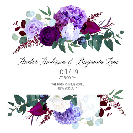 Elegante marco de boda de diseño vectorial de flores oscuras estacionales. Rosa púrpura y violeta, hortensias blancas y azul profundo, astilbe, anthurium, iris, eucaliptus. Borde de estilo floral Todos los elementos están aislados.