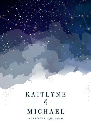 Ciel bleu foncé de nuit magique avec invitation de mariage de vecteur d'étoiles scintillantes. Galaxie d'Andromède. Fond d'éclaboussure de poudre de paillettes d'or. Poussière dorée éparpillée. Voie lactée de minuit. Carte de peinture aquarelle. Vecteurs