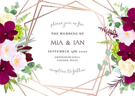 Luxe herfst bloemen vector geometrische kaart. Donkere marsala orchidee, roze camellia, gele roos, bordeaux rode astilbe, groene hortensia, eucalyptus.Gold veelhoekige lijntekeningen. Herfst bruiloft uitnodiging.Geïsoleerd