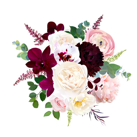 Autumn wedding bunch of flowers. Isolated and editable.