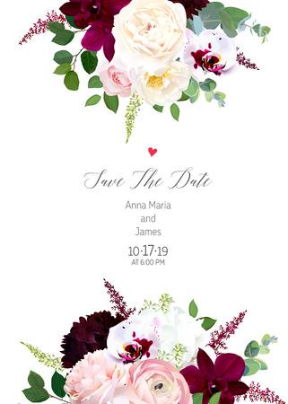 Luxury fall flowers vector design card. Dark and exotic white orchid, garden rose, burgundy red dahlia, hydrangea, ranunculus, astilbe, eucalyptus and greenery. Autumn wedding. Isolated and editable. Vektorové ilustrace
