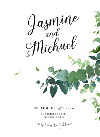 Herbal invitation simple vector vertical frame. Hand painted plants, branches, leaves on white background. Wedding design. Eucalyptus selection natural card. All elements are isolated and editable Vettoriali