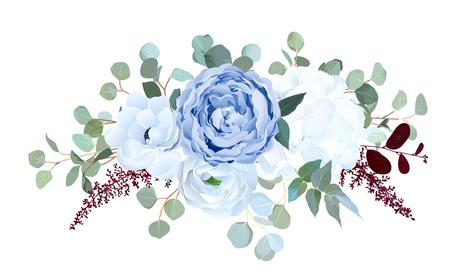 Rosa azul polvorienta, hortensia blanca, ranúnculo, anémona, eucalipto, ramo de diseño de vector de astilbe rojo burdeos. Flores de temporada de boda Composición de borde floral Todos los elementos están aislados y editables
