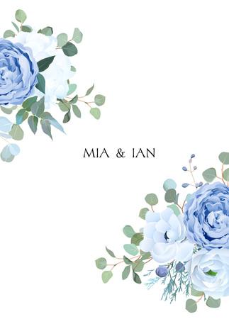 Rosa blu polverosa, ortensia bianca, ranuncolo, anemone, eucalipto, cornice di disegno vettoriale di ginepro. Carta di fiori stagionali per matrimoni. Composizione bordo floreale. Tutti gli elementi sono isolati e modificabili