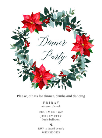 Red poinsettia flowers, christmas greenery, emerald eucalyptus, barberry, mix of seasonal plants vector design round frame. Winter chic wedding or party invitation card. Isolated and editable.