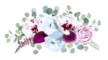 Egzotyczna nakrapiana orchidea, anturium, fioletowa róża, zawilec, eukaliptus, srebrny i zakurzony niebieski bukiet z zielenią wektor wzór. Ślubne kwiaty sezonowe.Kwiat obramowania kompozycji. Izolowane i edytowalne. Ilustracje wektorowe