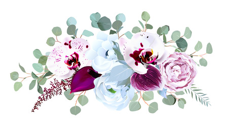 Exotic speckled orchid, anthurium, purple rose, anemone, eucalyptus, silver and dusty blue greenery vector design bouquet. Wedding seasonal flowers.Floral border composition. Isolated and editable. Vector Illustratie