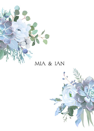 Dusty blue and white flowers, ranunculus, anemone, eucalyptus, juniper, echeveria succulent vector design frame. Wedding seasonal card.Floral border composition. All elements are isolated and editable