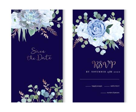 Dusty blue rose, echeveria succulent, hydrangea, ranunculus, ane Stock Photo