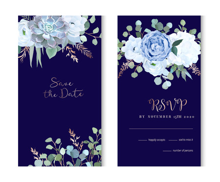 Dusty blue rose, echeveria succulent, hydrangea, ranunculus, anemone, eucalyptus, juniper, brunia vector design navy frames. Wedding flower card.Floral border, rose pink branch Isolated and editable