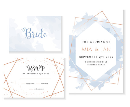 Set of golden line art cards. Winter wedding invitation.