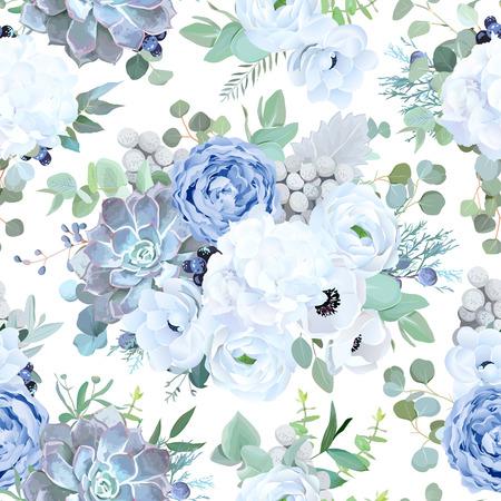 Bezszwowe wektor wzór z zakurzonej niebieskiej róży ogrodowej, białego zawilec, soczyste echeveria, Jaskier, hortensja, brunia, zieleń eukaliptusa, czarna jagoda. Piękny kwiatowy nadruk. Edytowalny.