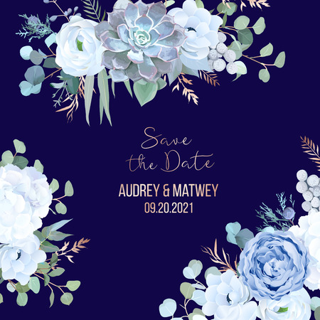 Dusty blue rose, echeveria succulent, hydrangea, ranunculus, anemone, eucalyptus, juniper, brunia vector design navy frame. Wedding flower card.Floral border, rose pink branch Isolated and editable  イラスト・ベクター素材