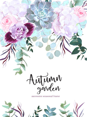 Purple, white and pink flowers vector design card. Rose, carnation, orchid, echeveria succulent, eucalyptus, agonis, hydrangea. Floral border Autumn mood composition Isolated an editable Illustration