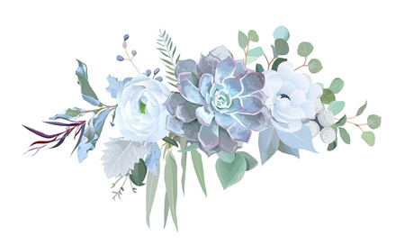 Dusty blue echeveria succulent, white ranunculus, anemone, eucal
